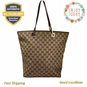 🌻💯 GUCCI TOTE BAG CANVAS GG LEATHER BROWN